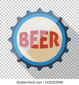 Beer bottle cap icon in flat style with long shadow on transparent background