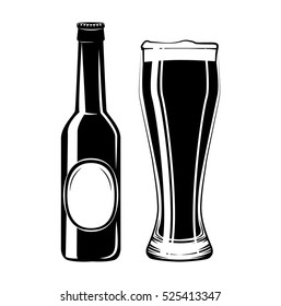 Beer Bottle And Glass. Alcohol Drink Vintage vector Elements. Isolated On White Background.