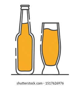 Beer bottle and glass. Alcoholic drink icon. Flat line art outline vector.