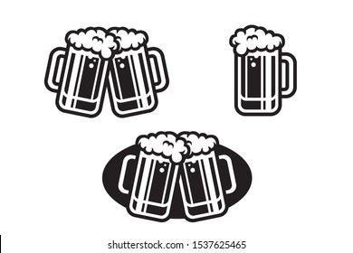 Beer bottle and glass cheers vector party illustration
