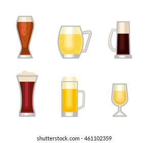 Beer bottle, glass and different types of beer label