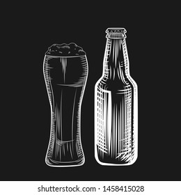 Beer bottle and glass. Engraving style. Freehand vector illustration isolated on black background.