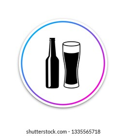 Beer bottle and glass icon isolated on white background. Alcohol Drink symbol. Circle white button. Vector Illustration