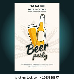 Beer bottle and glass of beer. Beer party poster or flyer template. Vector illustration for web, poster, invitation to party.