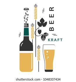 Beer bottle and a glass. Vector linear icons with traditional ingredients of brewing. Hop, wheat. Illustration for the brewery, pub, menu, label, brochure, booklet. Set of isolated elements.