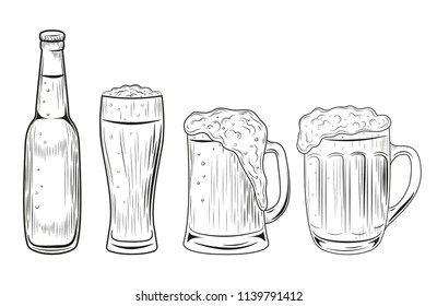 Beer bottle and glasses. Vector illustration isolated on white background. Hand drawn.