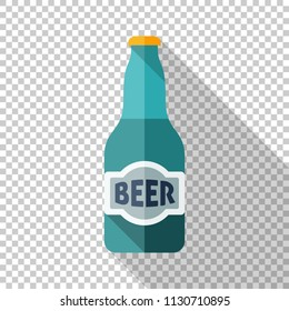 Beer bottle icon in flat style with long shadow on transparent background