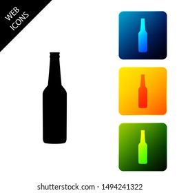 Beer bottle icon isolated. Set icons colorful square buttons. Vector Illustration