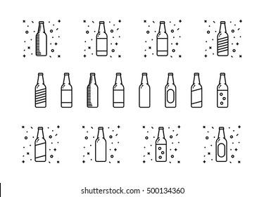 Beer Bottle Icon Set