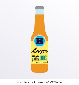 Beer bottle with label isolated on white background. Colorful vector icon or sign. Symbol or design element for restaurant, beer pub or cafe. Vector illustration.