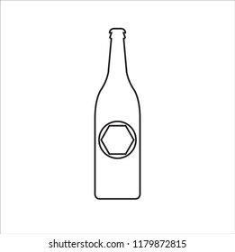 Beer bottle line icon vector on white background