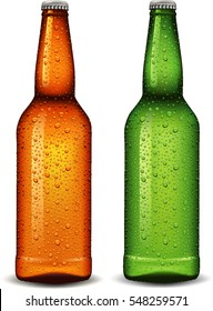 beer bottle with many waters drops