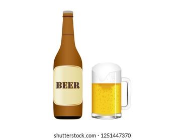 Beer bottle and beer mug