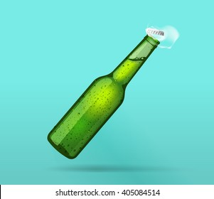 Beer bottle open, full green wet bottle opened flying cap, bubbles, smoke, cold bottle of mineral water steam effect, drops, soda, lemonade fresh realistic vector illustration design isolated on blue