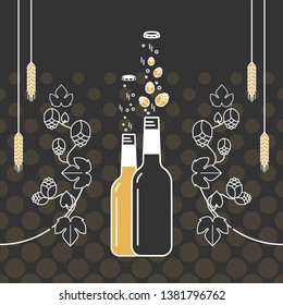 Beer bottle, ornamental hop branch and wheat ears. Vector icon. Craft beer with brewing ingredients. Illustration for brewery, pub, bar, restaurant. Modern line style.
