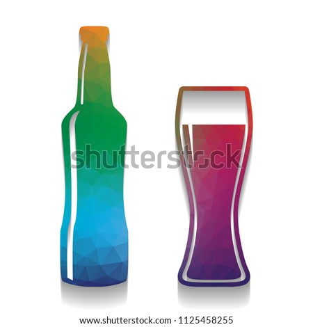Beer Bottle Sign. Vector. Colorful Icon With Bright Texture Of Mosaic With  Soft Shadow