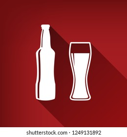 Beer bottle sign. Vector. White icon with limitless shadow at ruby red background.