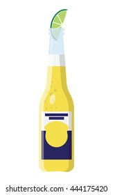 Beer bottle with a slice of lime clip art in vector format.