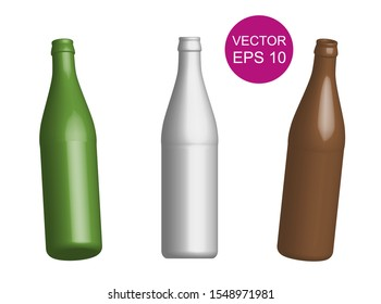 Beer bottle template. 3D. Vector Illustration. Different angles.