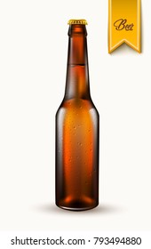 Beer bottle template. Realistic vector 3d glass container mockup, refreshing alcohol drink, beverage for advertising, logo brand label design. Transparent brown bar party symbol. Isolated illustration