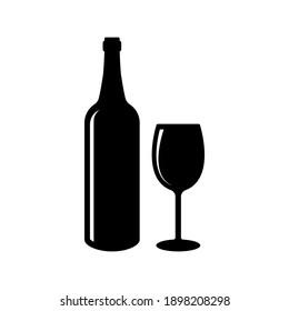Beer bottle vector icon. Bottle and Glass Beer for Bar or Cafe or Restaurant Symbol Logo illustration.
