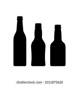 Beer bottle vector icon set isolated on white background