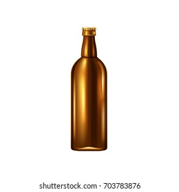 Beer bottle, vector illustration. Realistic object isolated on white