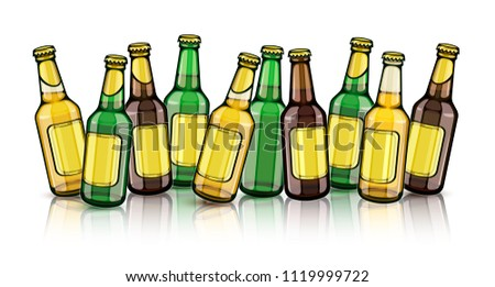 f0ed8b2c15c9 Beer bottles with blank gold labels. Set of full filled with crafting  brewery beer drink
