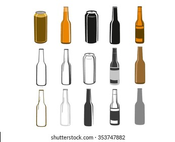 Beer bottles and can of beer different  color, outline, graphic, beer silhouette vector collection isolated on white background. Can beer vector set. Vector color beer bottle.