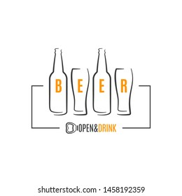 beer bottles with beer glass logo on white background