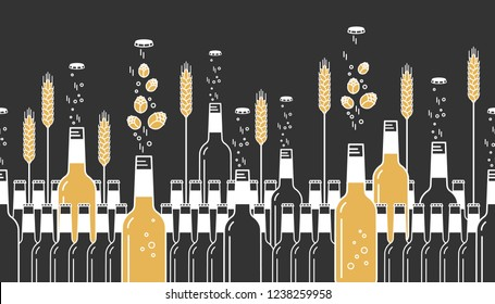 Beer bottles, hops and wheat. Craft beer with brewing ingredients. Illustration for brewery, pub, bar, restaurant. Horizontal seamless pattern on dark background. Modern line style.