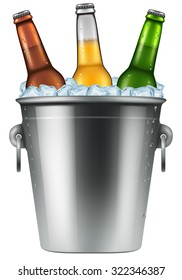Beer bottles in an ice bucket, realistic vector illustration.