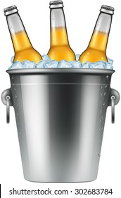 Beer bottles in an ice bucket, vector illustration.