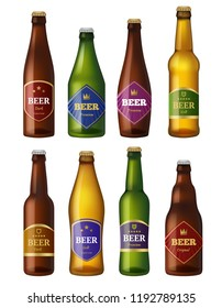 Beer bottles labels. Alcohol cold drinks containers vessels badges design projects. Vector illustrations isolated beer alcohol glass bottle collection