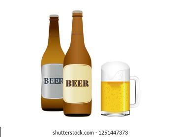 Beer bottles and beer mug