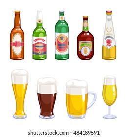 Beer bottles and mugs icons set. Alcohol vector illustration. Lager wheat ale beer varieties. Beer bottle. Beer mug.