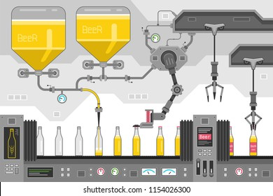 Beer bottles on the conveyor belt. Automatic production conveyor. Robotic industry concept