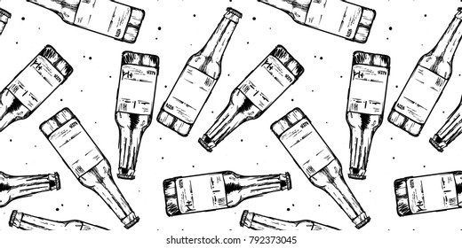 Beer bottles seamless pattern background. Food design icons hand-drawing elements. Graphic texture for restaurant template.