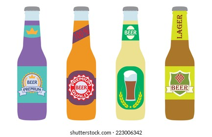 Beer bottles set with label isolated on white background. Colorful vector icon or sign. Symbol or design elements for restaurant, beer pub or cafe.