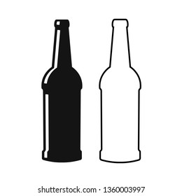 Beer bottles silhouette vector icon