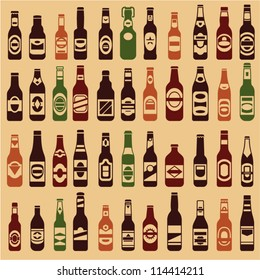 Beer bottles vector collection. Beer vintage seamless background. 44 different vector forms & labels.