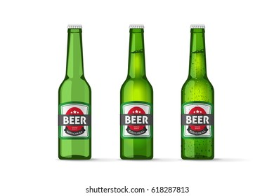 Beer bottles vector objects isolated on white background, realistic full cold and empty green beer bottle