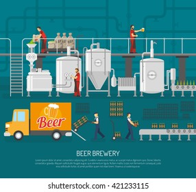 Beer Brewery Concept Flat Vector Illustration