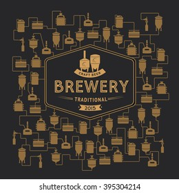 Beer brewery elements, icons, logos, design elements. Brewing process, brewery factory production elements, traditional beer crafting.