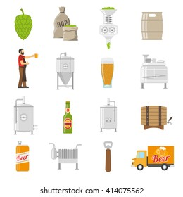 Beer Brewery Flat Decorative Icons Set Isolated Vector Illustration