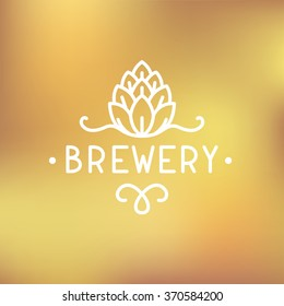 Beer brewery logo. Simple thin line hop sign / logotype. Vector illustration.
