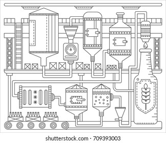 Beer Brewery production process. Line factory beer background. October fest. Outline stroke linear style vector illustration.