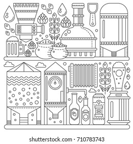 Beer Brewery production process. Line factory beer background. Outline stroke linear style vector illustration banner. October festival.