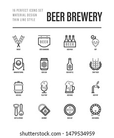 Beer brewery thin line icons set: manufacturing, craft, tap, mug, tulip pint, wheat, hop, bottle opener, barrel. Vector illustration for bar or restaurant.
