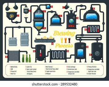 Beer brewing process, infographic.